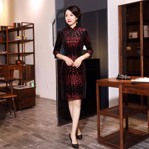 Chinese Traditional Cheongsam Women Velvet Mini Dress Prom Qipao S-5XL