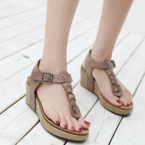 Wedge-Heels-Slingbacks-Thong-Sandals-Womens-Vogue-Roma-Platform-Beach-Boho-Shoes