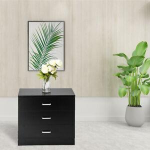 New-3-Drawer-Chest-Storage-Cabinet-Bedroom-Nightstand-Furniture-Modern-Black