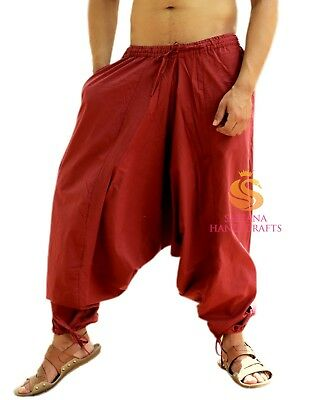 Mens Cotton Maroon Solid Harem Pants Womens Yoga Pants Unisex Casual Trouser Pants Hippie Afghani Baggy Pants