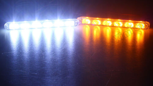 4X 6 LED Car Strobe Flashing Light Blue Red White Amber Green Wireless Remote UK
