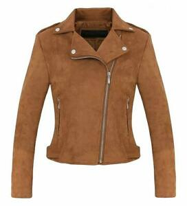 Women's Stylish Notched Collar Oblique Zip Suede Leather Moto Jacket - Coffee M
