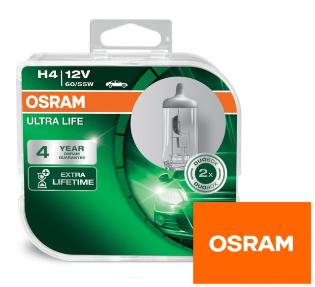 OSRAM 64193ULT-HCB Ultra Life H4 Long Life Headlight Bulbs (Twin Pack)