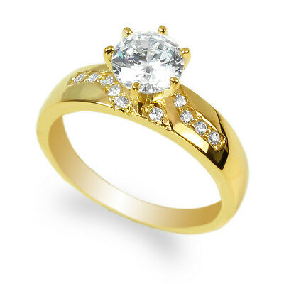 JamesJenny Ladies 10K Yellow Gold 1.0ct Round CZ Fancy Pattern Ring Size 4-10