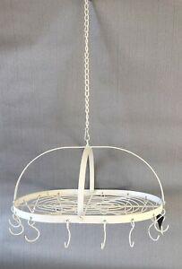Deckenkranz Hange Regal Kranz Oval Weiss Shabby 16 Haken Metall Deko