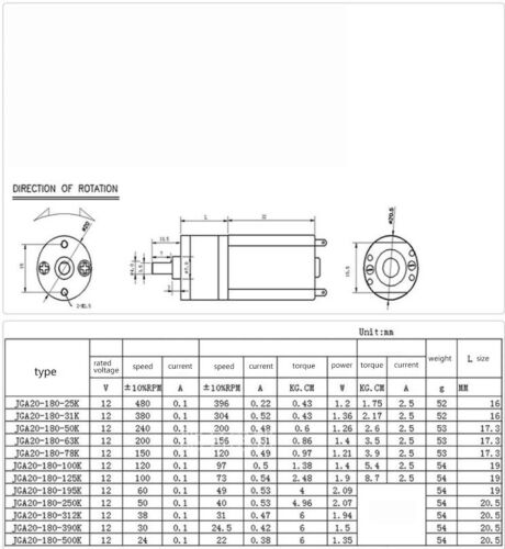 JGA20-180 Gear Motor DC12V High Torque Low Speed Motor For Diy Hair Curler Robot