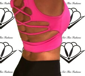 SALE!! OPEN BACK The Sexy Labella Crop Top, Workout Shirt, Sports Bra HOT PINK