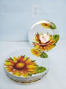 6 Royal Norfolk Sunflower Floral Summer Ceramic Stoneware Dinner Plates