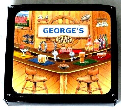 GEORGE/'S BAR NAME SET OF 6 CORK BACKED COASTERS