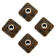 ML3157p Antiqued Copper 10mm Unique Embellished Square Metal Bead Caps 100/pkg