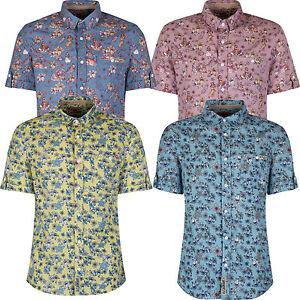 Tokyo-Laundry-Da-Uomo-Puro-Cotone-Manica-Corta-Stile-Hawaiano-Floreale-Festa-Party-Camicie