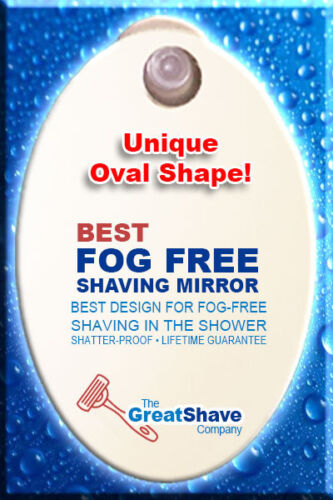 OVAL Fogless Suction Cup Shower Shave Make Up Fog Free Mirror GREAT SHAVE CO