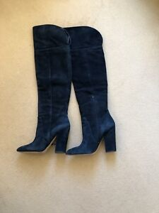 e9ecd821ffc Image is loading Aldo-Leissa-Navy-Suede-Over-the-Knee-Boots-