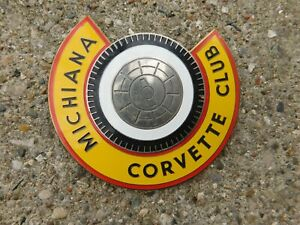Vintage Michiana Corvette Club Metal Enamel Badge Ebay