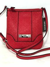 GUESS Red Hipster Crossbody Handbag Rhinestone Accent Womens Small Purse Bag