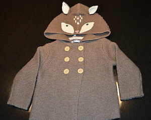 f4c8426e8 Mini Boden - Girls Knitted Animal Jacket - Brown Mouse Marl Deer ...
