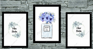 Set-of-3-Wall-Art-Prints-Bedroom-Poster-blue-His-and-Her-side-Room-UK