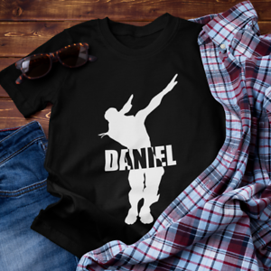 Funny Personalised Dab Fortnite Gaming T Shirt Top Boys Kids Children FREE P&P