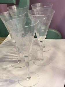 """MCM Set of 5 Vintage Princess House Heritage Stemware 8 1/4"""" Tall Wine Glasses"""