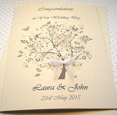 Luxury Wedding Day Congratulations Card Handmade Personalised Ivory