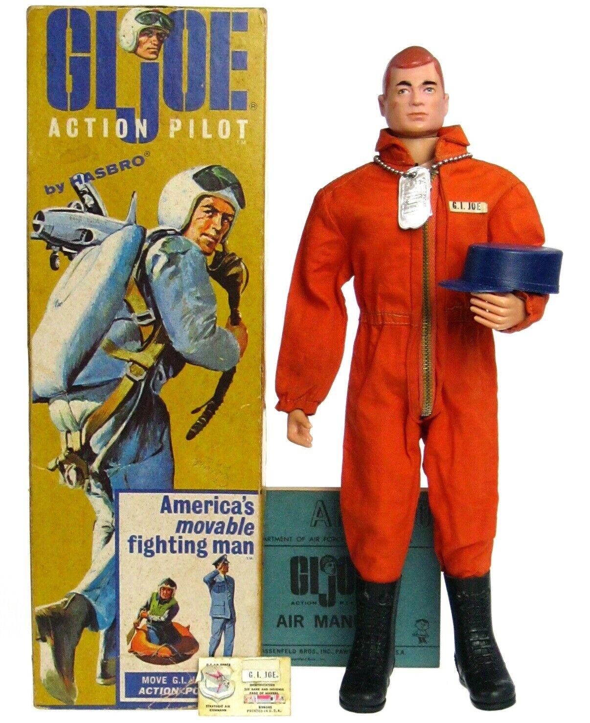 Vintage 1964 GI Joe Hasbro Action Pilot Air Force PH Figure w Double TM 2TM Box
