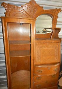 Antique-Oak-Side-by-Side-Secretary-W-Drop-Front-Desk-Bookcase-Display-case-1930s