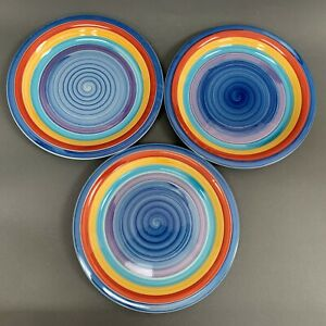 2001-3-GMT-Swirl-Multi-color-Blue-Yellow-Red-Purple-10-3-8-034-Dinner-Plates