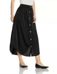 Have An Inquiring Mind J. Jill Black Button Down Midi Skirt Sz.sp Lightweight Good Reputation Over The World