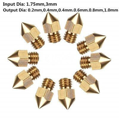 10Pcs MK8 Brass Filament Extruder Nozzle For 3D Printer Set CR-10 0.2mm-1.0mm