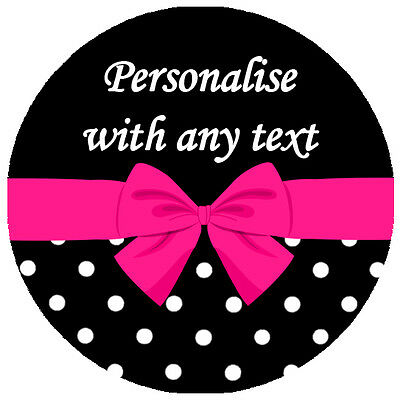 Personalised POLKA DOT BOW STICKERS - Hen Party Wedding Birthday Favour Labels