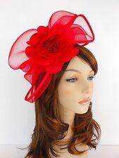 New Church Derby Wedding  Poly Fascinator Dress Hat w Headband FS-06 Red