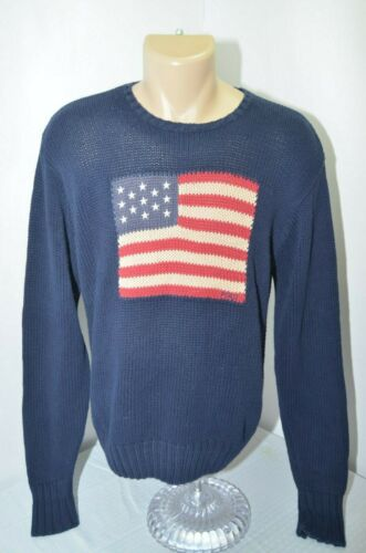 VTG Polo Ralph Lauren Spell Out American Flag Knit Sweater Cotton Blue Mens L