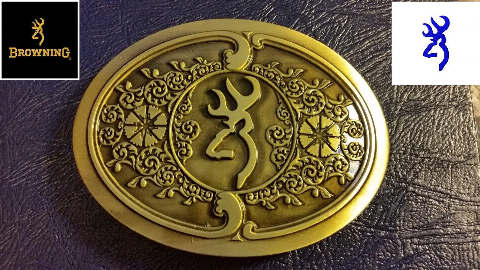 ✖ Browning Logo Mens Belt Buckle Full Metal Scroll Antique Bronze color USA