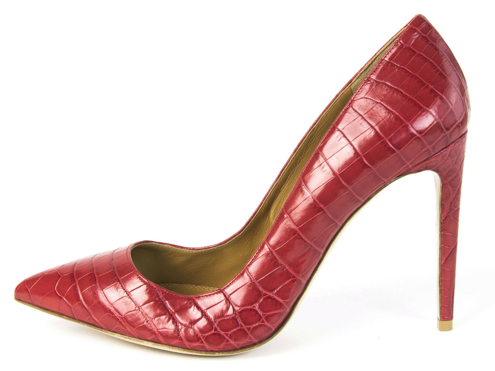 RALPH LAUREN Purple Label Women's Celia Red Alligator Pumps Sz 9.5 NEW