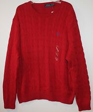 Polo Ralph Lauren Big and Tall Mens Red Cableknit Cotton Sweater NWT $125 2XLT