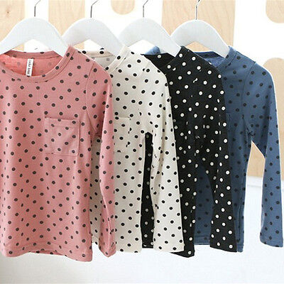 Toddler Girl Kids Long Sleeve Polka Dots T-shirt Tops Cotton Cozy Shirt 2-7Y E90