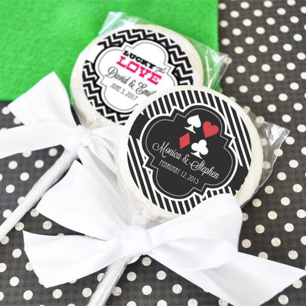 48 Las Vegas personnalisé sucettes lollipop Bridal Shower Mariage faveurs