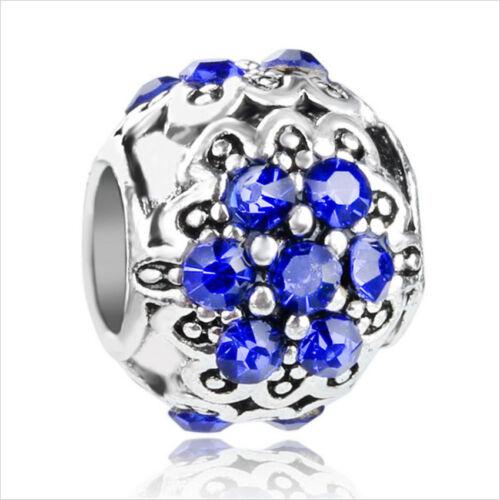 Européenne Argent 925 Zircone Cubique Fleur Charme Perles Pendentif Fit Bracelet Collier Chaîne