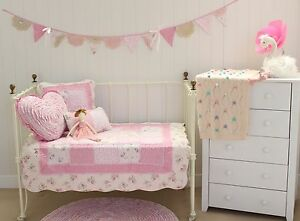4 Pce Mia Girls Baby Cot Quilt Coverlet Shabby Chic Nursery Package