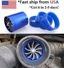 SUPERCHARGER DUAL Double Turbonator Cold AIR INTAKE Fuel Saver Turbo Fan BLUE #9