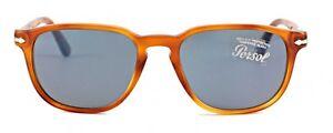 NWT-PERSOL-Sunglasses-PO-3019S-96-56-Light-Havana-Crystal-Blue-52-MM-9656-NIB