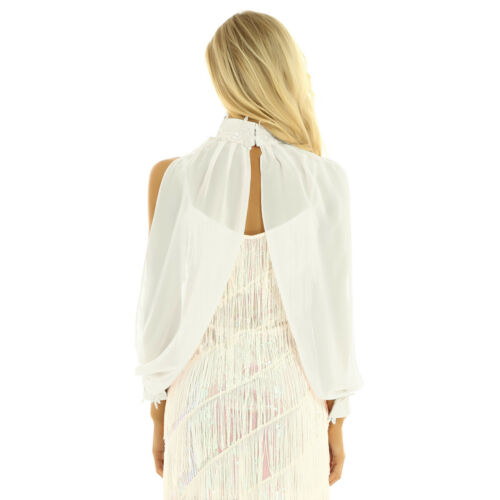 Womens Chiffon Wraps for Evening Party Open Front High Split Sleeve Wedding Cape