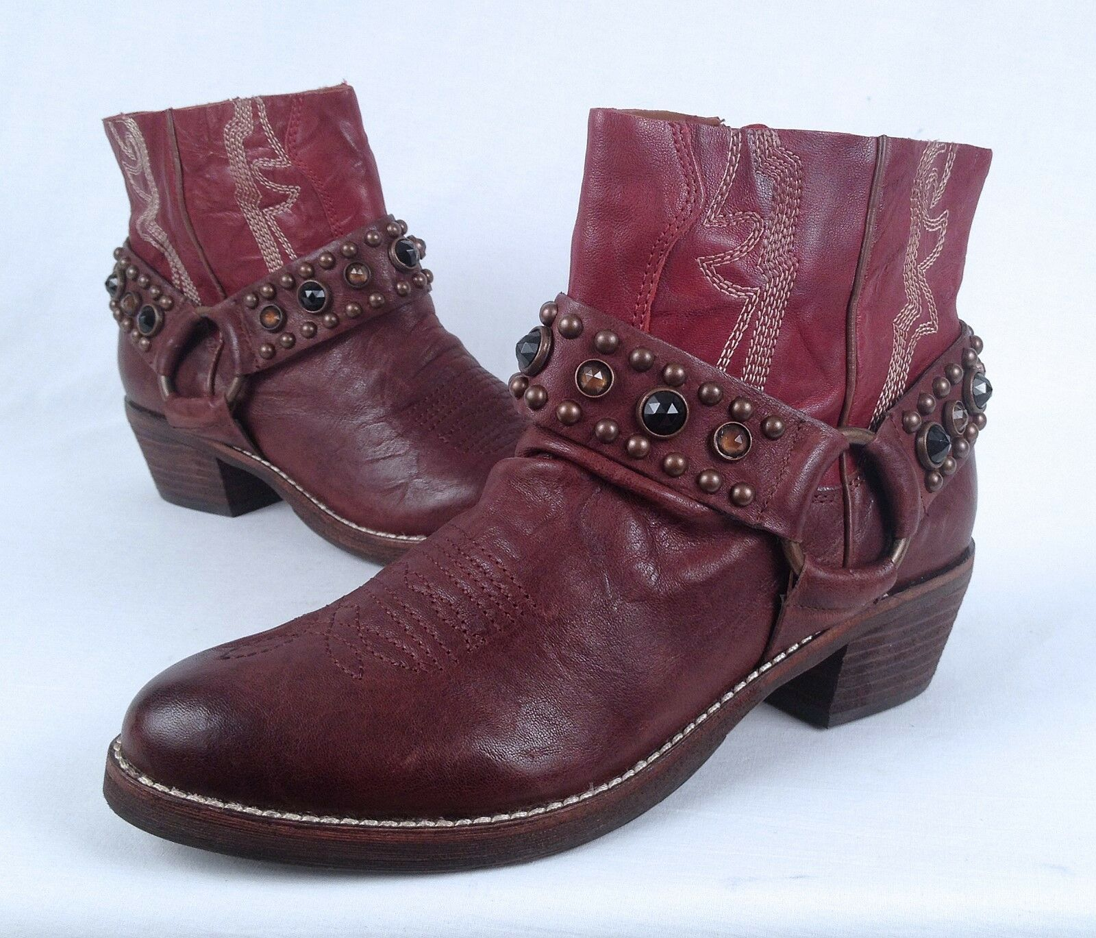 Sam Edelman 'Skyler' Jeweled Studded Studded Studded Short Boot- Brown Cognac- Size 6 M (B25) bd086b