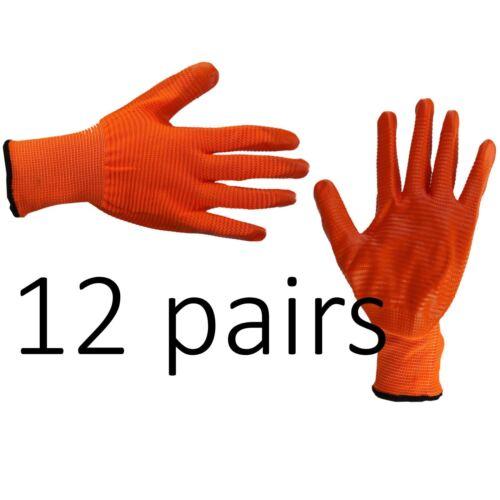 12 x Sicurezza Lavoro Guanti in lattice con rivestimento Liner Non Slip Grip costruttori Riparazione Taglia M