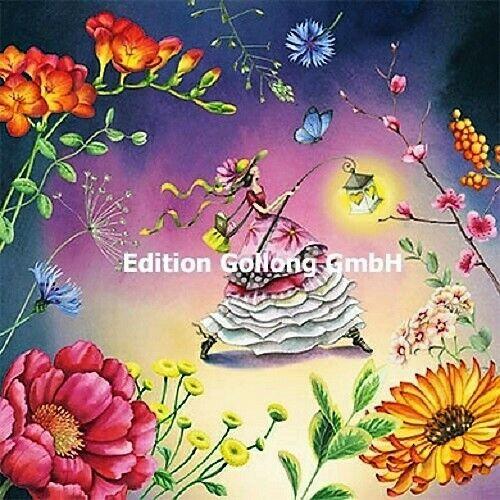 Nina Chen*Postkarte*Glitzereffekt*Herbst*Herzbaum/&pilze*Laterne*14x14cm