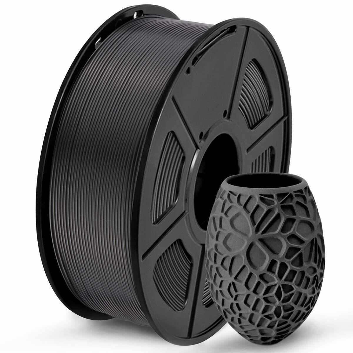 SUNLU PLA 3D Printer Filament, 1.75mm, Accuracy +/- 0.02 Black, 1.0 kg spool