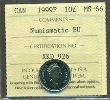 Test Token 1999P Canada 10 cent Certified ICCS MS-66 NBU