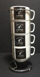Cypress Home Stackable Coffee Mugs Cups With Chrome Holder New