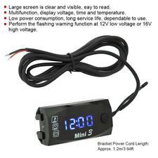 3 In 1 Motorcycle Led Voltmeter Thermometer Electronic Clock Gauge Meter 6v 30v