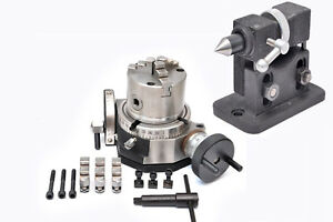 """ADJUSTABLE TAILSTOCK. 100 MM SELF CENTERING CHUCK ROTARY TABLE 4/"""" TILTING"""